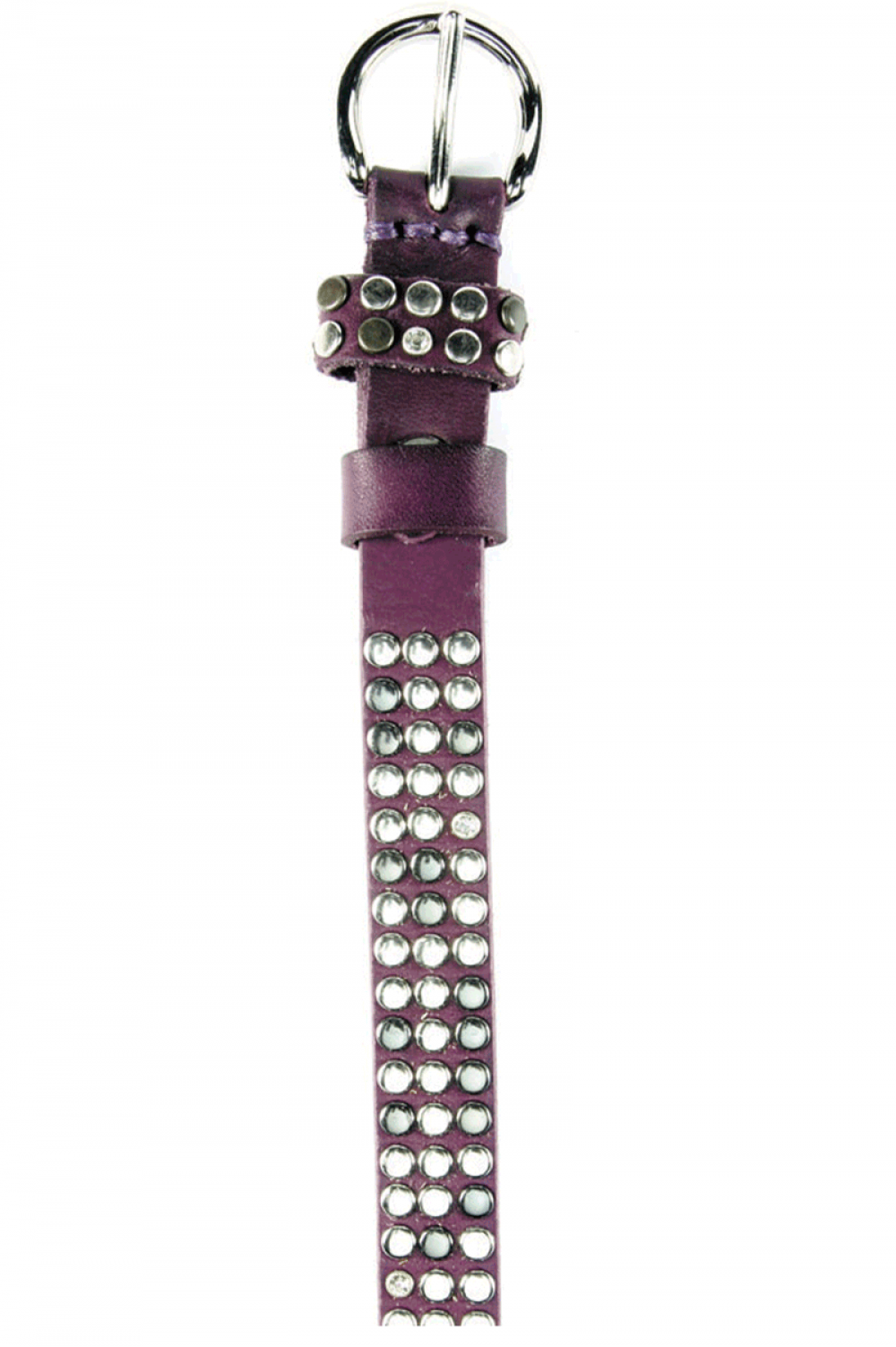 Women Dark Purple leather belt with caps - 515505